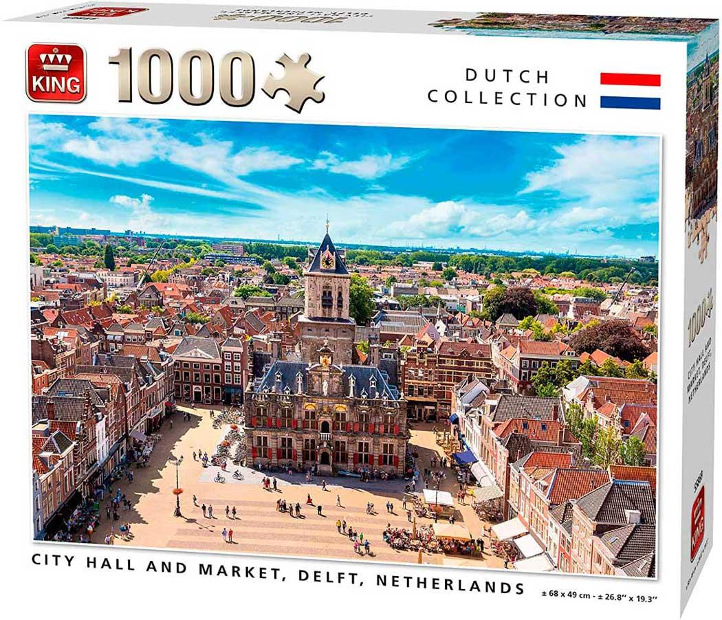 Puzzle King Ayuntamiento y Mercado, Delft, Holanda de 1000 Pzs
