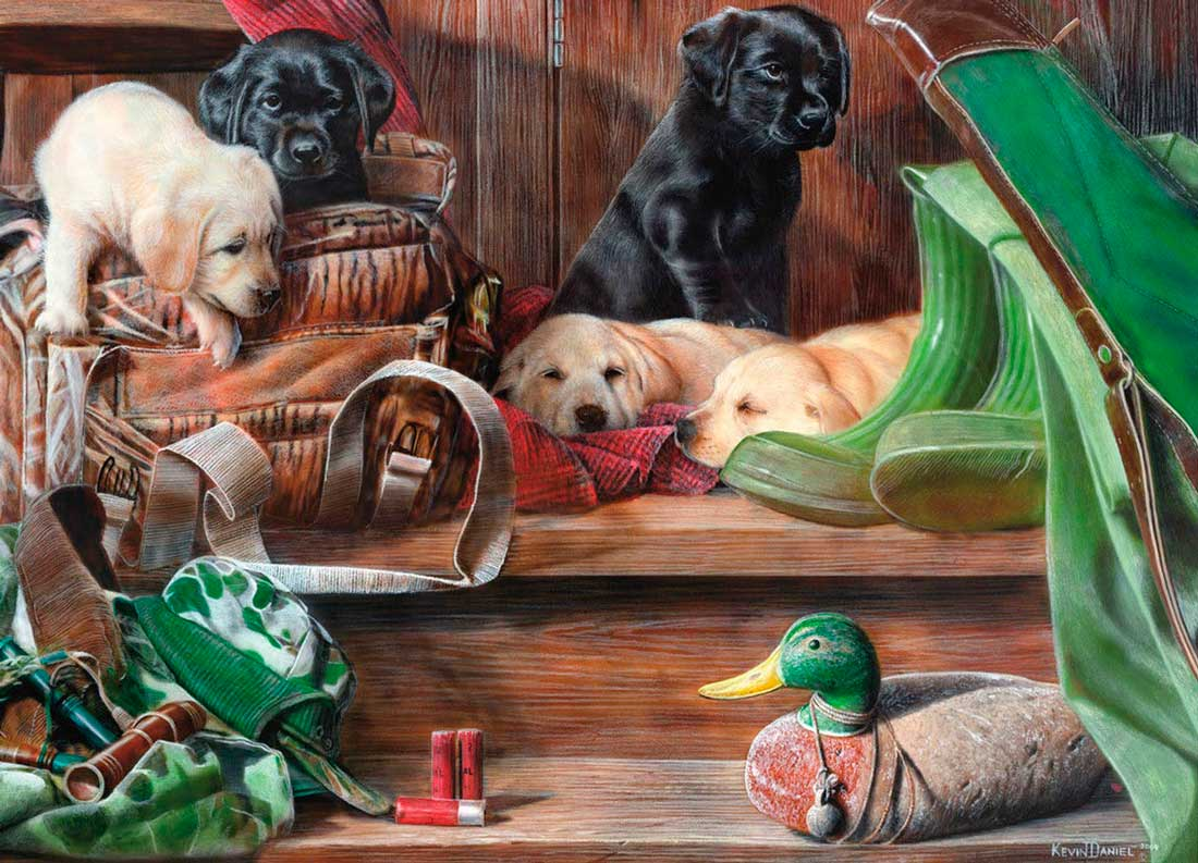 Puzzle King Cachorros de Caza en los Escalones de 1000 Piezas