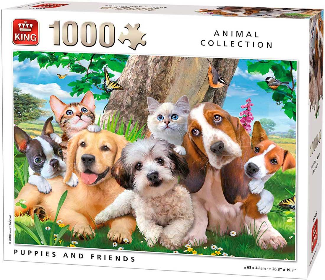 Puzzle King Cachorros y Amigos de 1000 Piezas