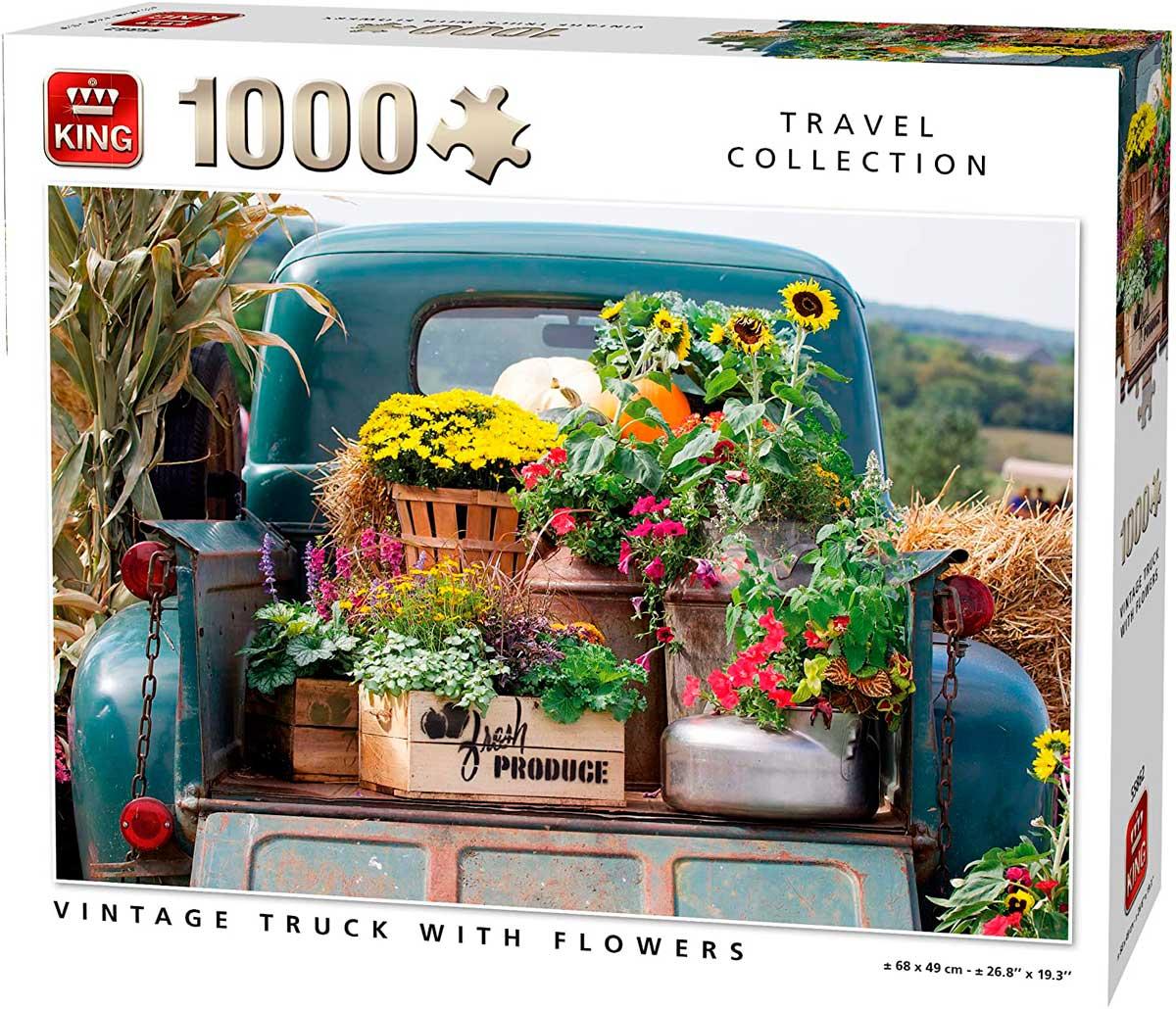 Puzzle King Camioneta Vintage Con Flores de 1000 Piezas