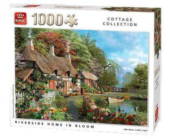 Puzzle King Casa Junto al Río Florecido de 1000 Piezas