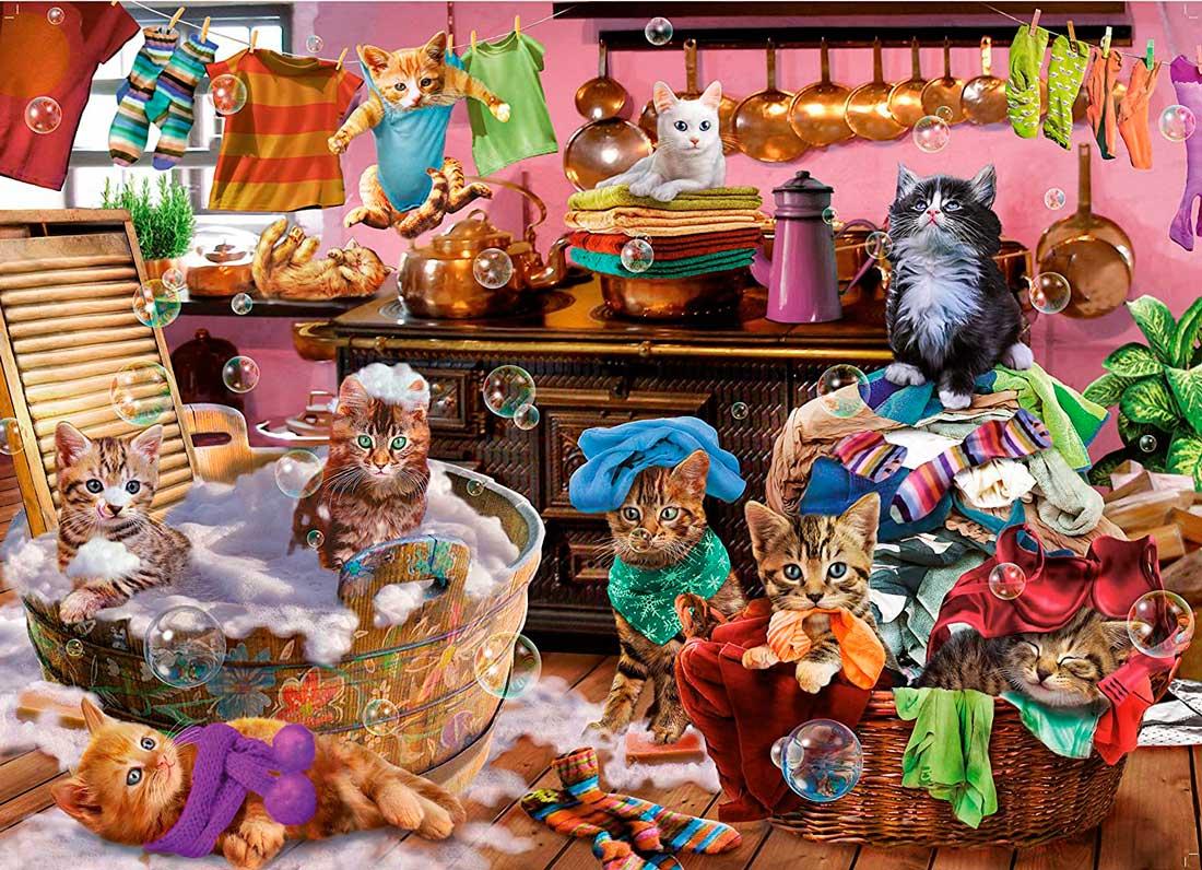 Puzzle King Gatitos en la Cocina de 1000 Piezas