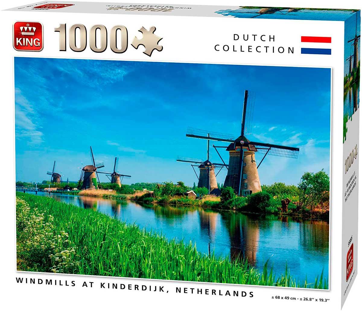 Puzzle King Molinos en Kinderdijk, Holanda de 1000 Pzs