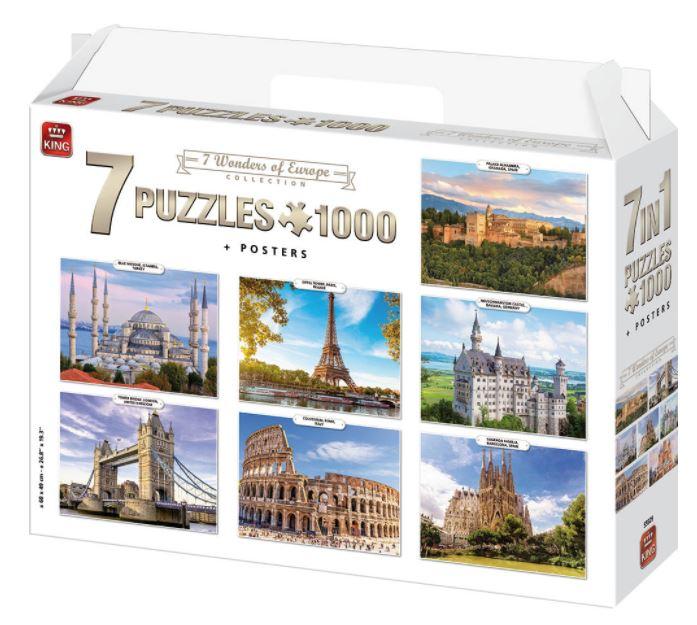 Puzzle King Siete Maravillas de Europa de 7 x 1000 Piezas