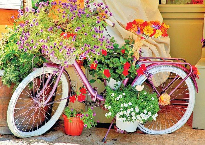 Puzzle Magnolia Bicicleta Con Flores de 1000 Piezas