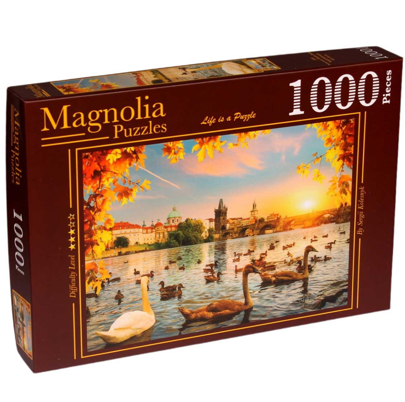 Puzzle Magnolia Cisnes en Puente de Carlos de 1000 Piezas