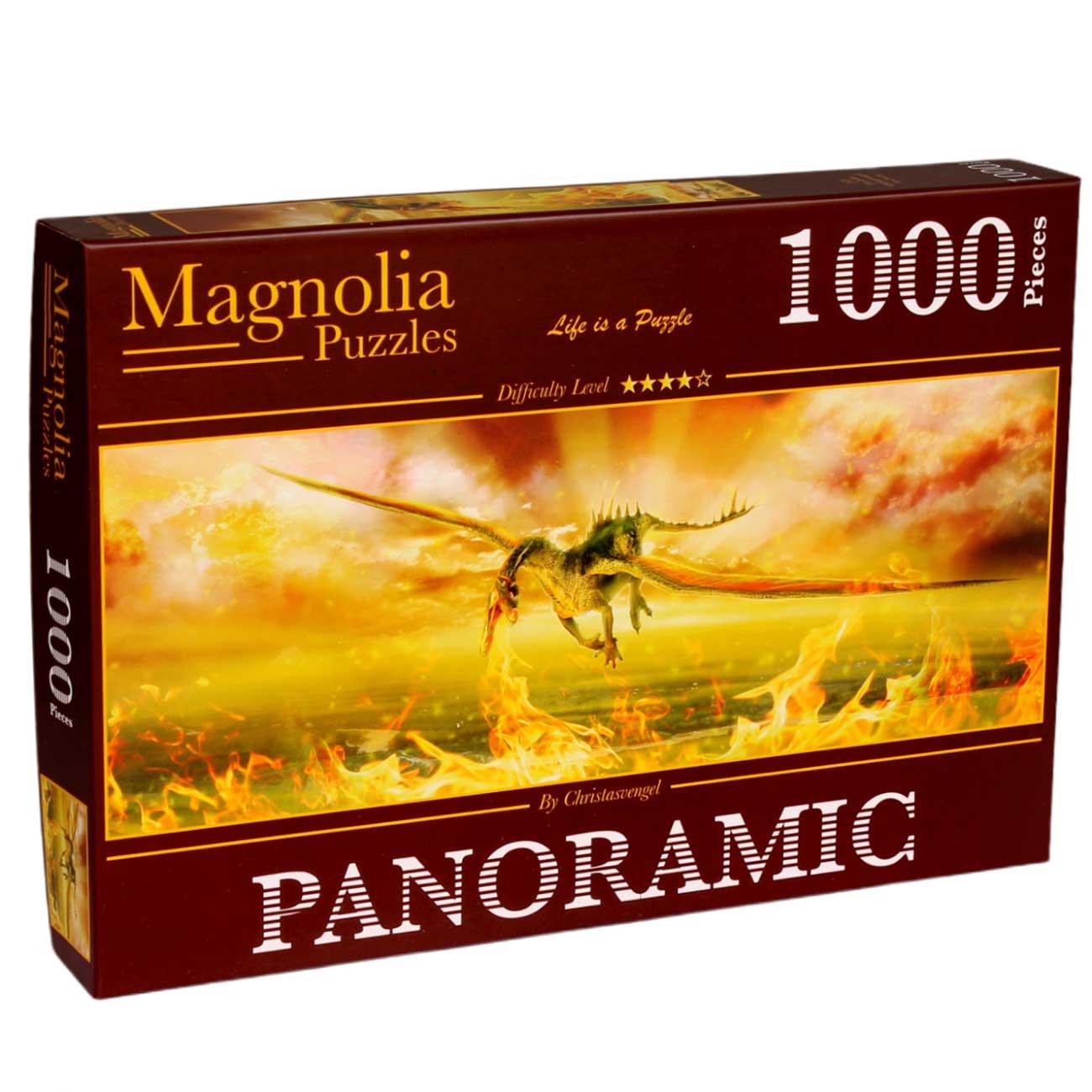 Puzzle Magnolia Fuego de Dragon Panorámico de 1000 Piezas