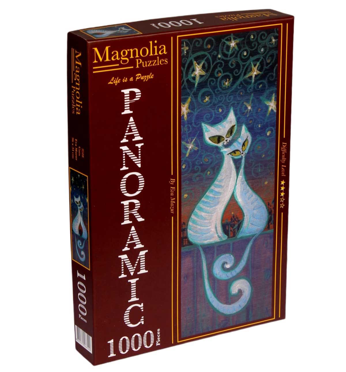 Puzzle Magnolia Gatos Panorámico de 1000 Piezas