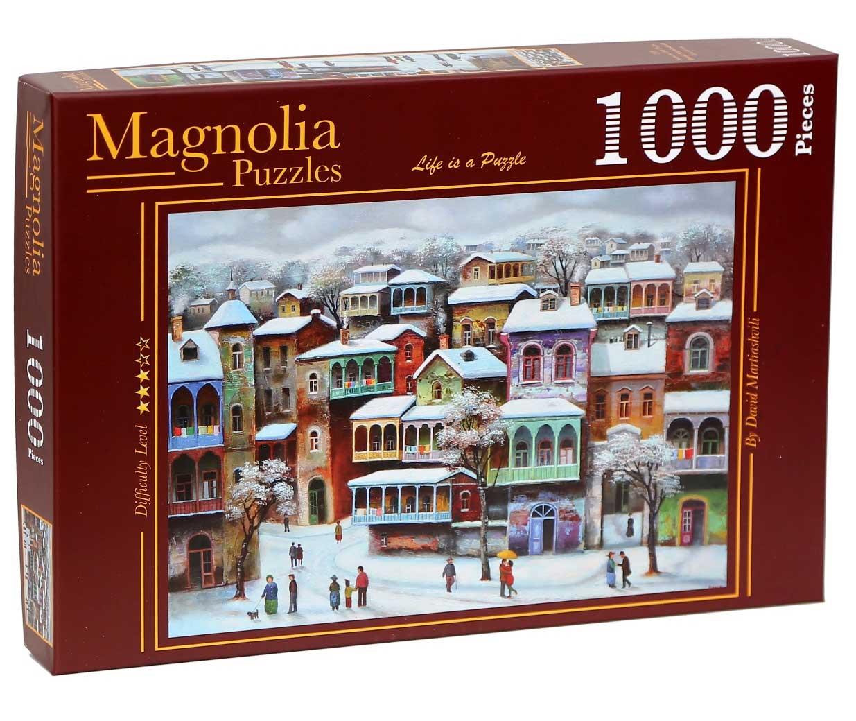Puzzle Magnolia Nieve en el Old Tbilisi de 1000 Piezas