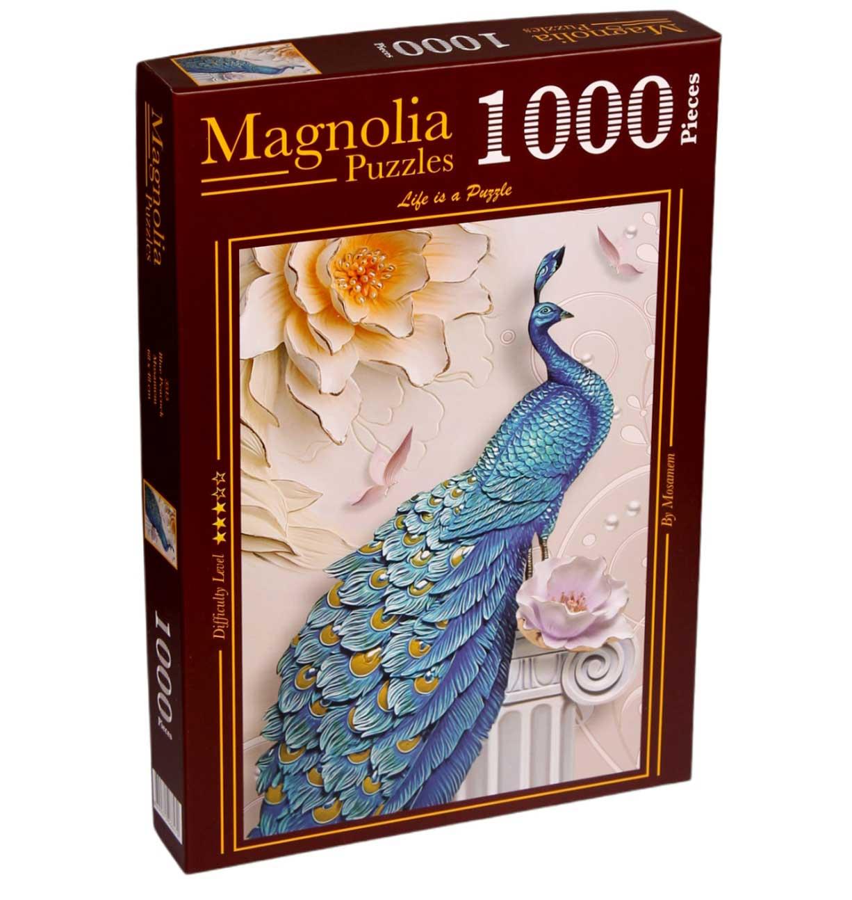Puzzle Magnolia Pavo Real Azul de 1000 Piezas
