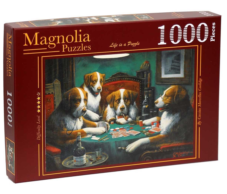 Puzzle Magnolia Perros Jugando al Póquer de 1000 Piezas