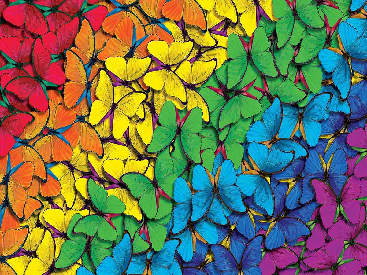 Puzzle MasterPieces Arco Iris de Mariposas de 550 Piezas