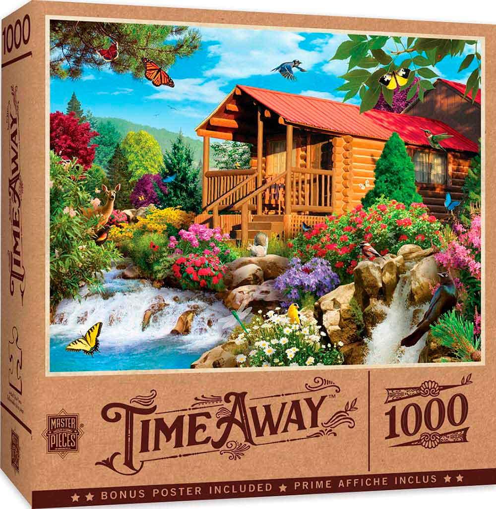 Puzzle MasterPieces Cabaña con Cascada de 1000 Piezas
