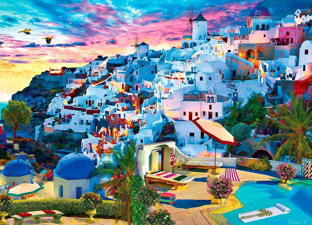 Puzzle MasterPieces Cielo de Santorini de 1000 Piezas