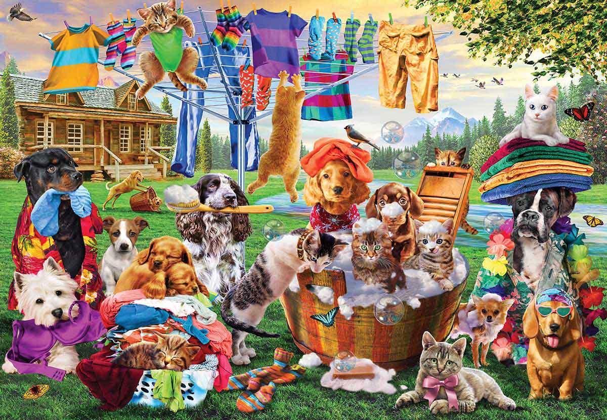 Puzzle MasterPieces El Día de la Colada de Mascotas XXL de 1000