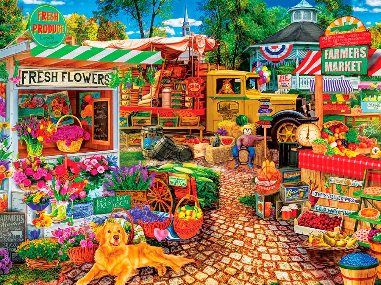 Puzzle MasterPieces Mercadillo en la Plaza de 750 Piezas