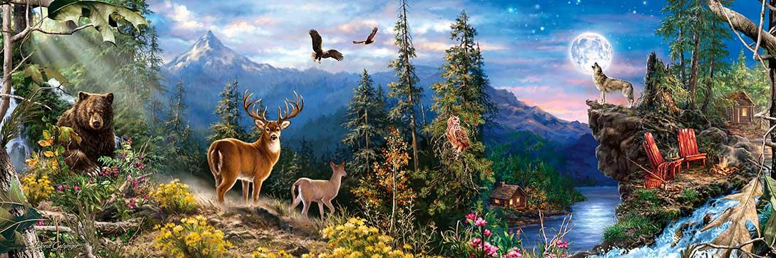 Puzzle MasterPieces Panorámico Animales del Bosque 1000 Piezas