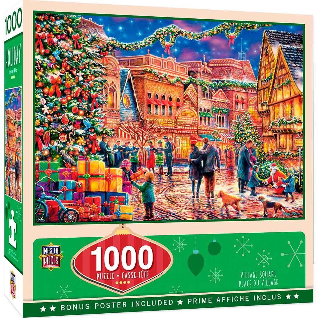 Puzzle MasterPieces Plaza del Pueblo en Navidad de 1000 Pzs