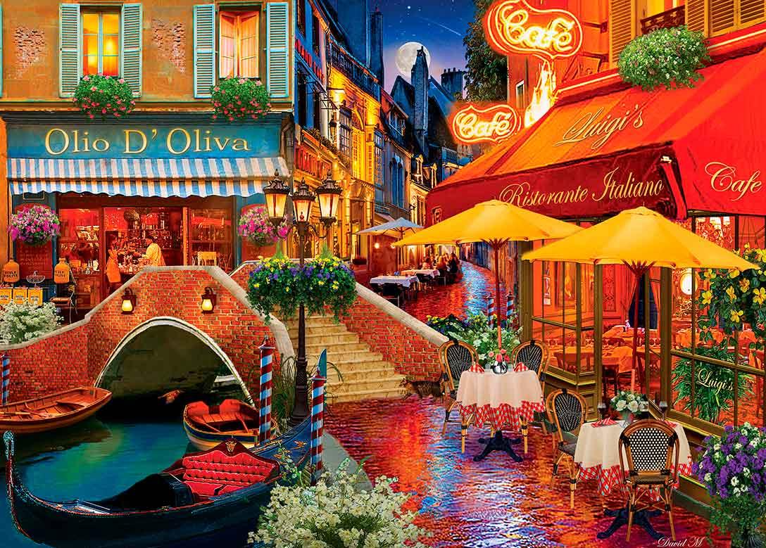 Puzzle MasterPieces Restaurantes en Venecia de 1000 Piezas
