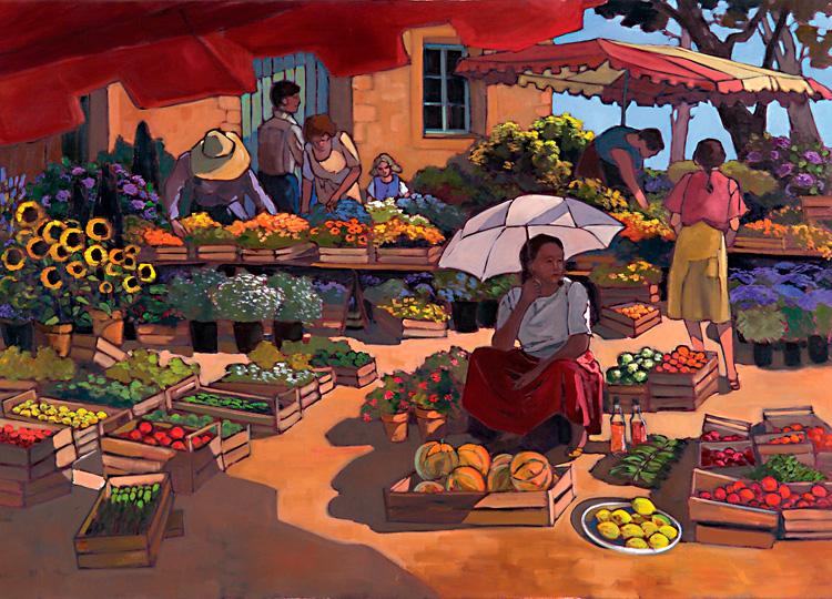 Puzzle Nathan Mujeres en el Mercado de 2000 Piezas