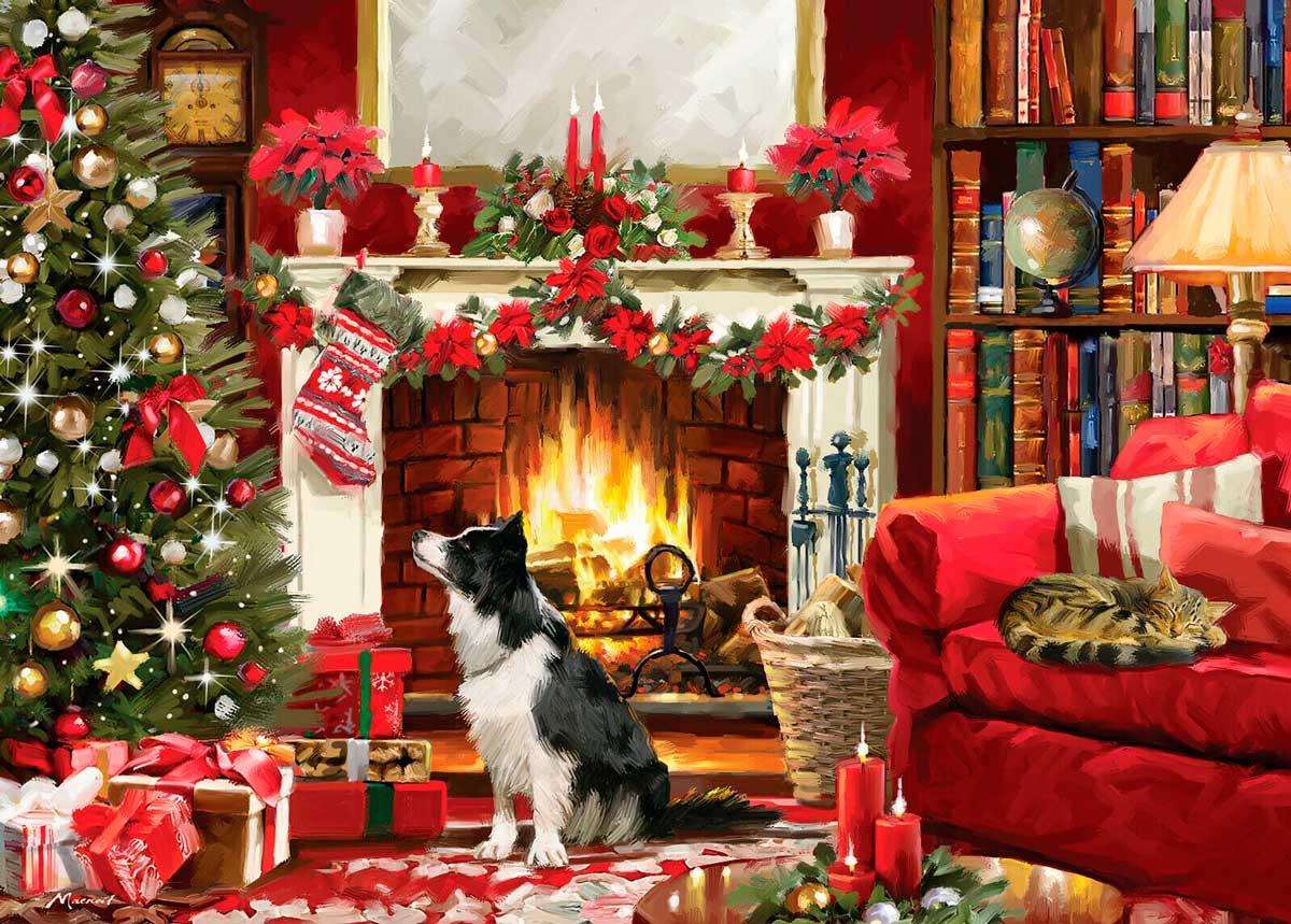 Puzzle Otter House Chimenea en Navidad de 1000 Piezas