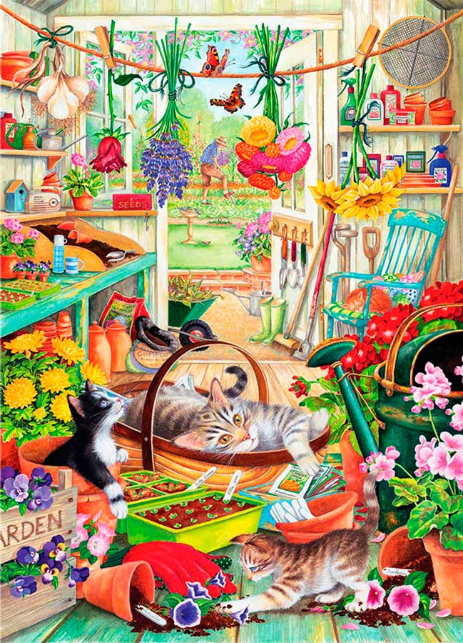Puzzle Otter House Gatitos Jardineros de 1000 Piezas
