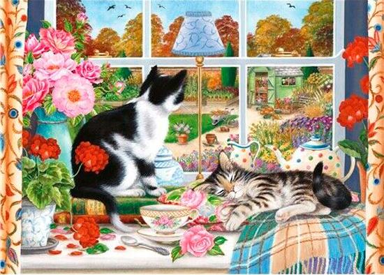Puzzle Otter House Gatos Mirando por la Ventana de 1000 Piezas