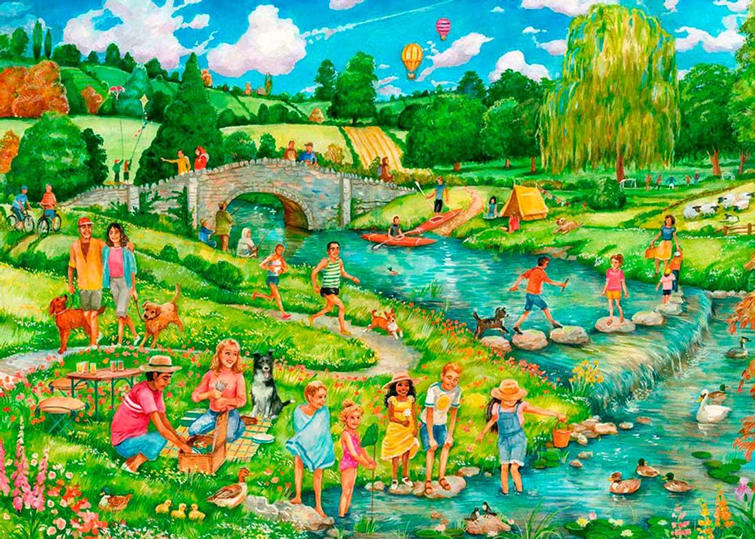 Puzzle Otter House La Gran Salida Campestre de 1000 Piezas