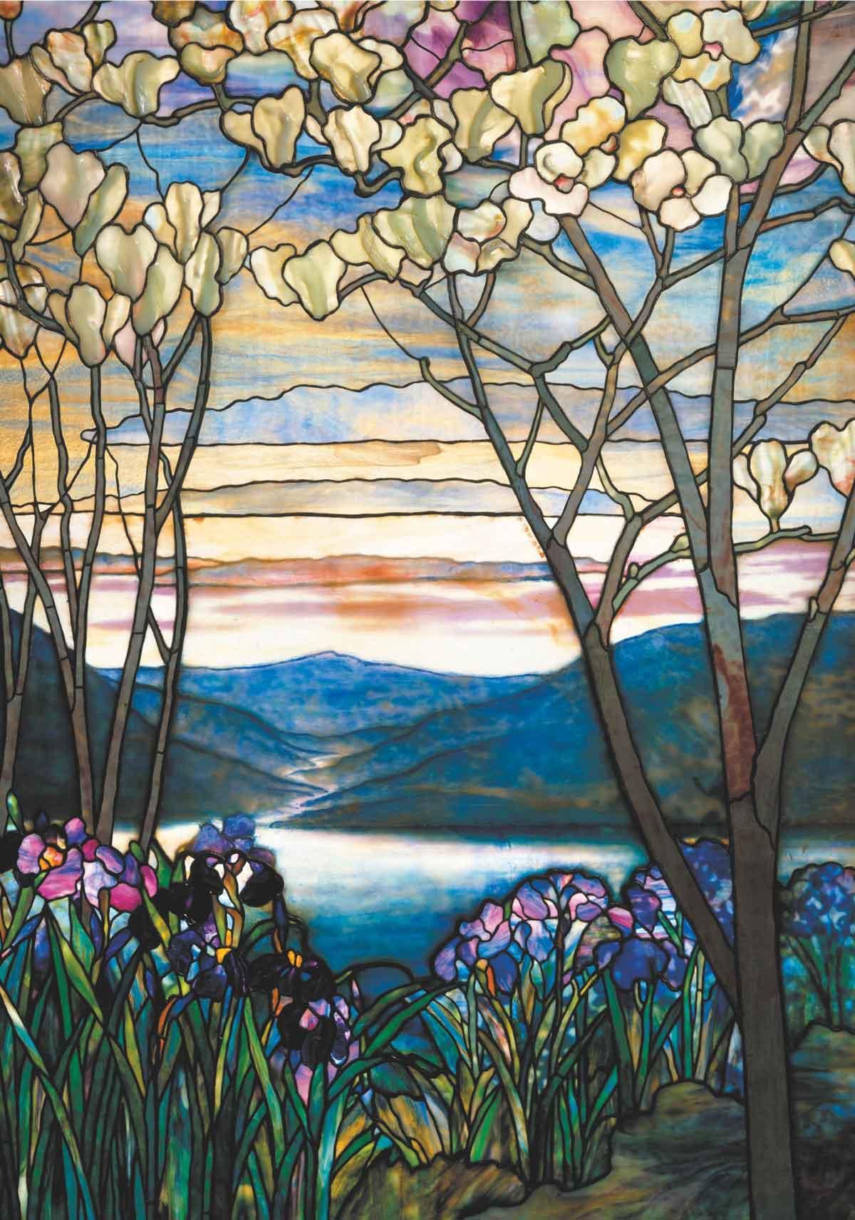 Puzzle Piatnik Magnolias e Iris de Tiffany de 1000 Piezas