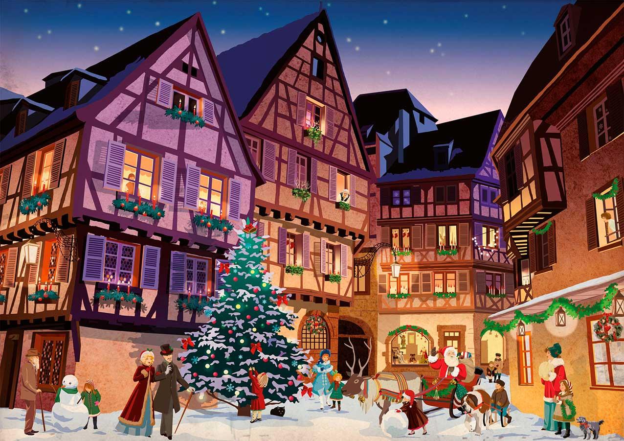 Puzzle Piatnik Navidad en la Aldea de 1000 Piezas