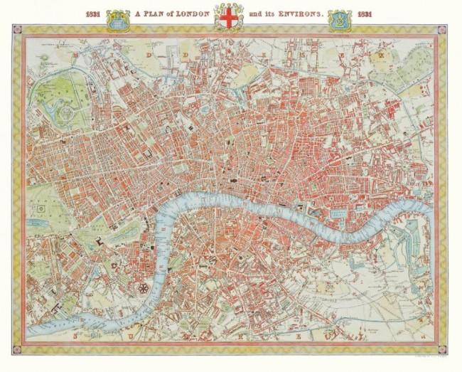 Puzzle Piatnik Plano de Londres, 1831 de 1000 Piezas