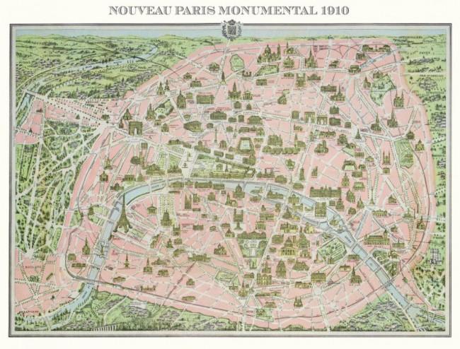 Puzzle Piatnik Plano de París, 1910 de 1000 Piezas