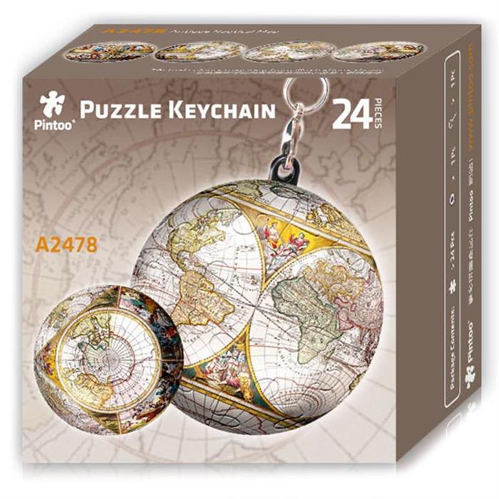 Puzzle Pintoo 3D Llavero Globo Terráqueo Antiguo de 24 Piezas