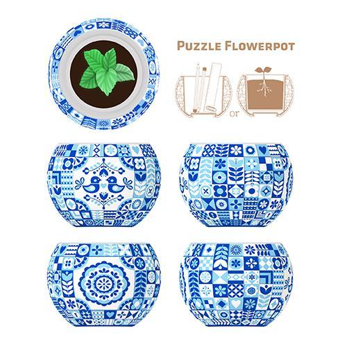 Puzzle Pintoo 3D Maceta Estilo Danés de 80 Piezas