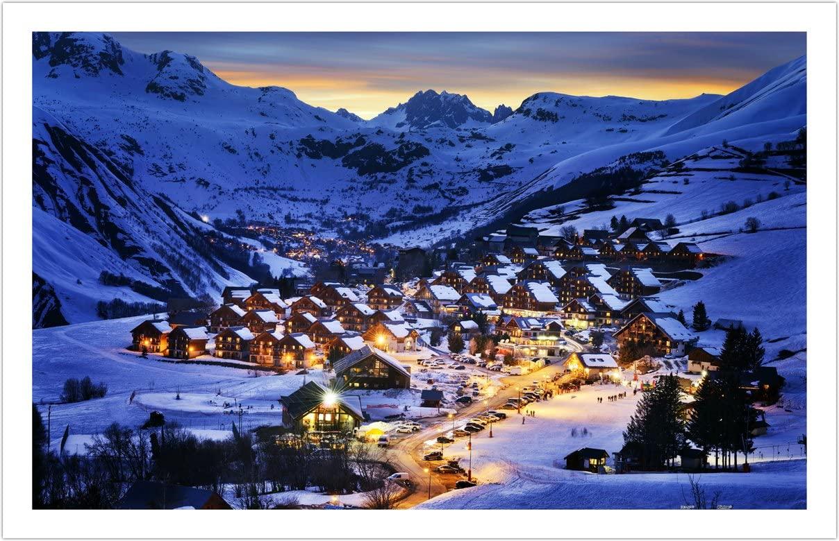 Puzzle Pintoo Hermoso Atardecer en Resort de los Alpes Franceses