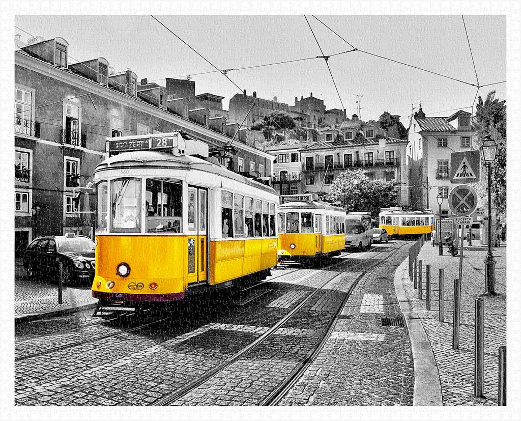 Puzzle Pintoo Tranvías Amarillos en Lisboa de 2000 Piezas