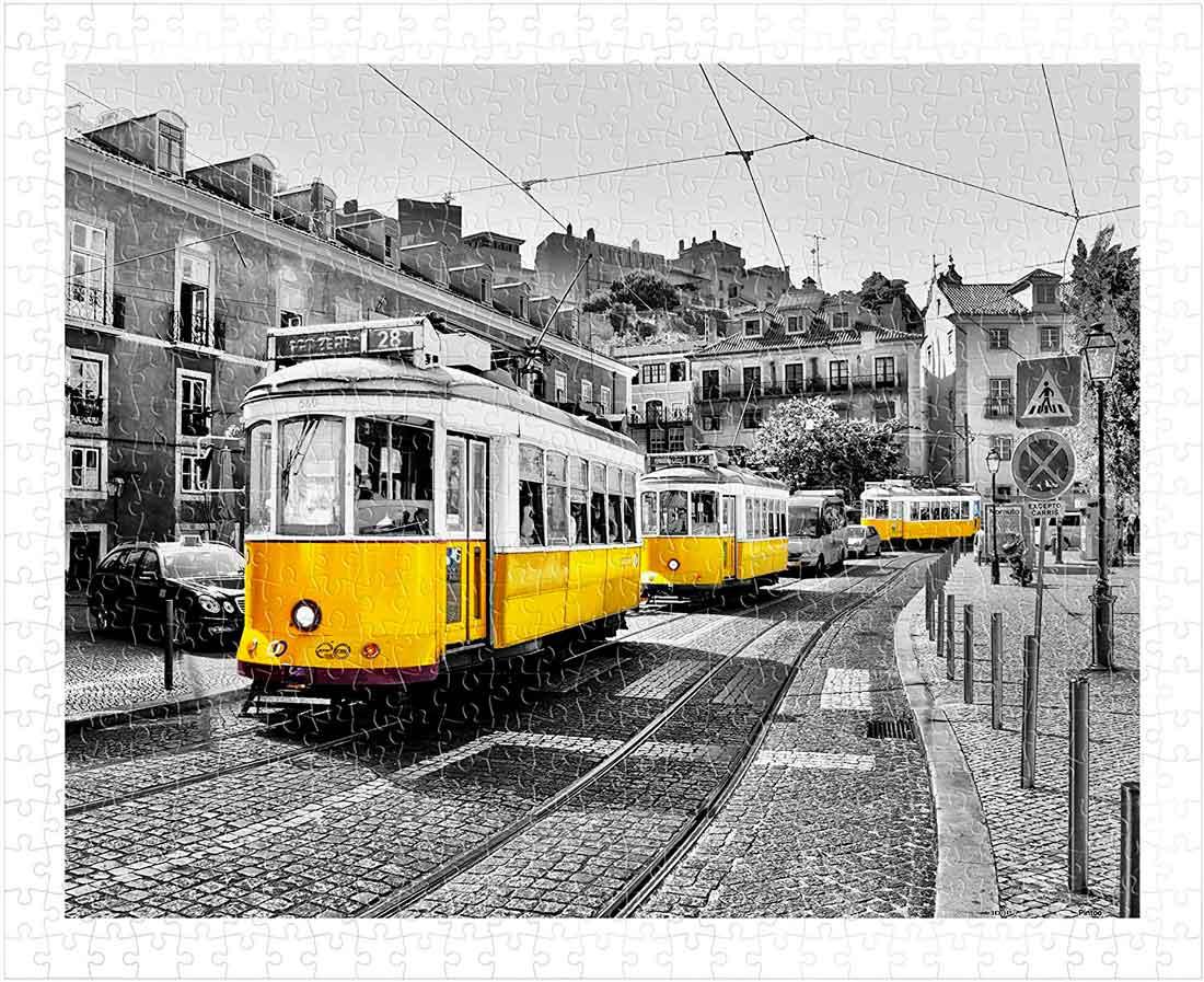 Puzzle Pintoo Tranvías Amarillos en Lisboa de 500 Piezas