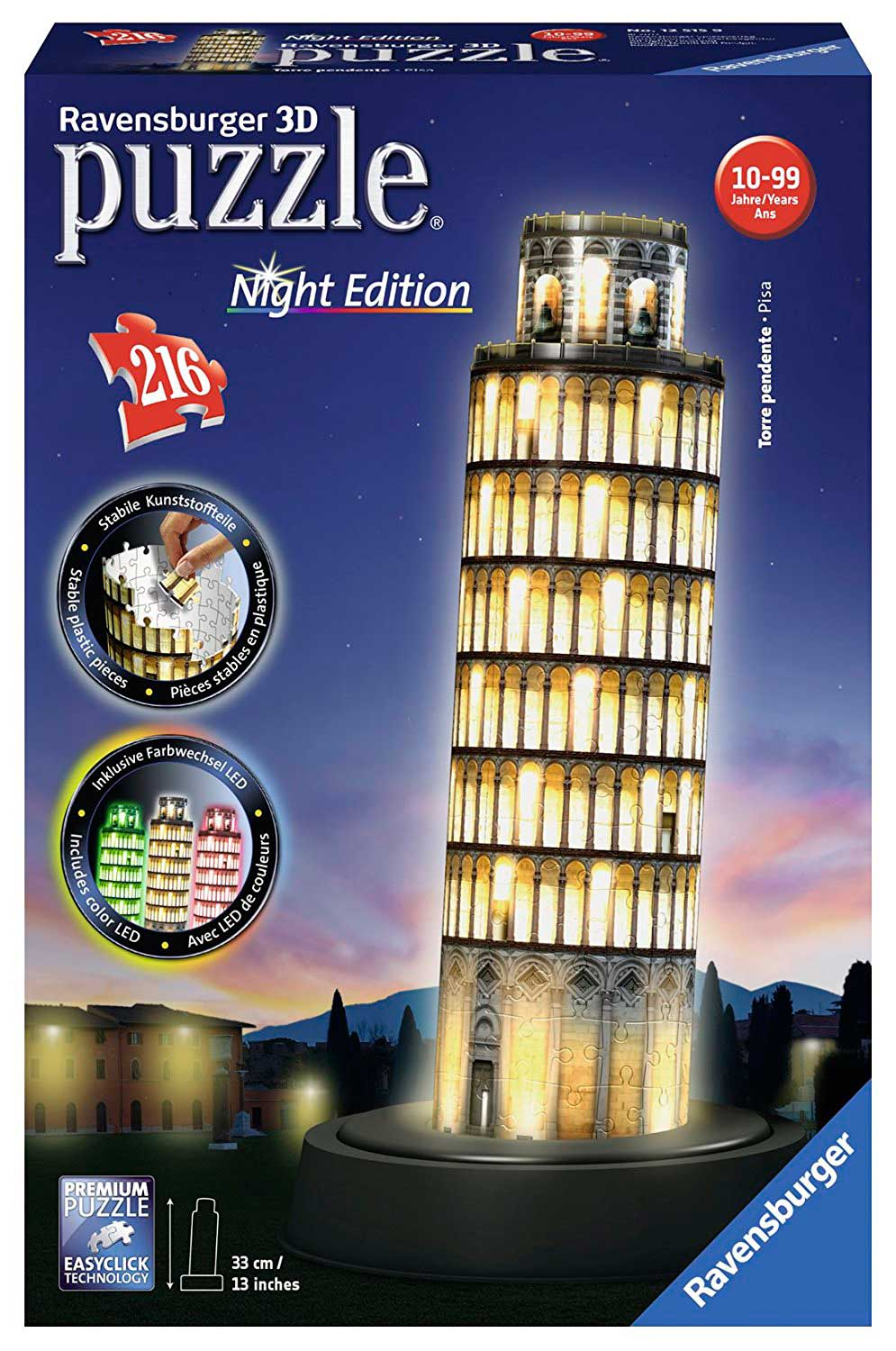 Puzzle Ravensburger 3D Torre de Pisa Night Edition 216 Pieza