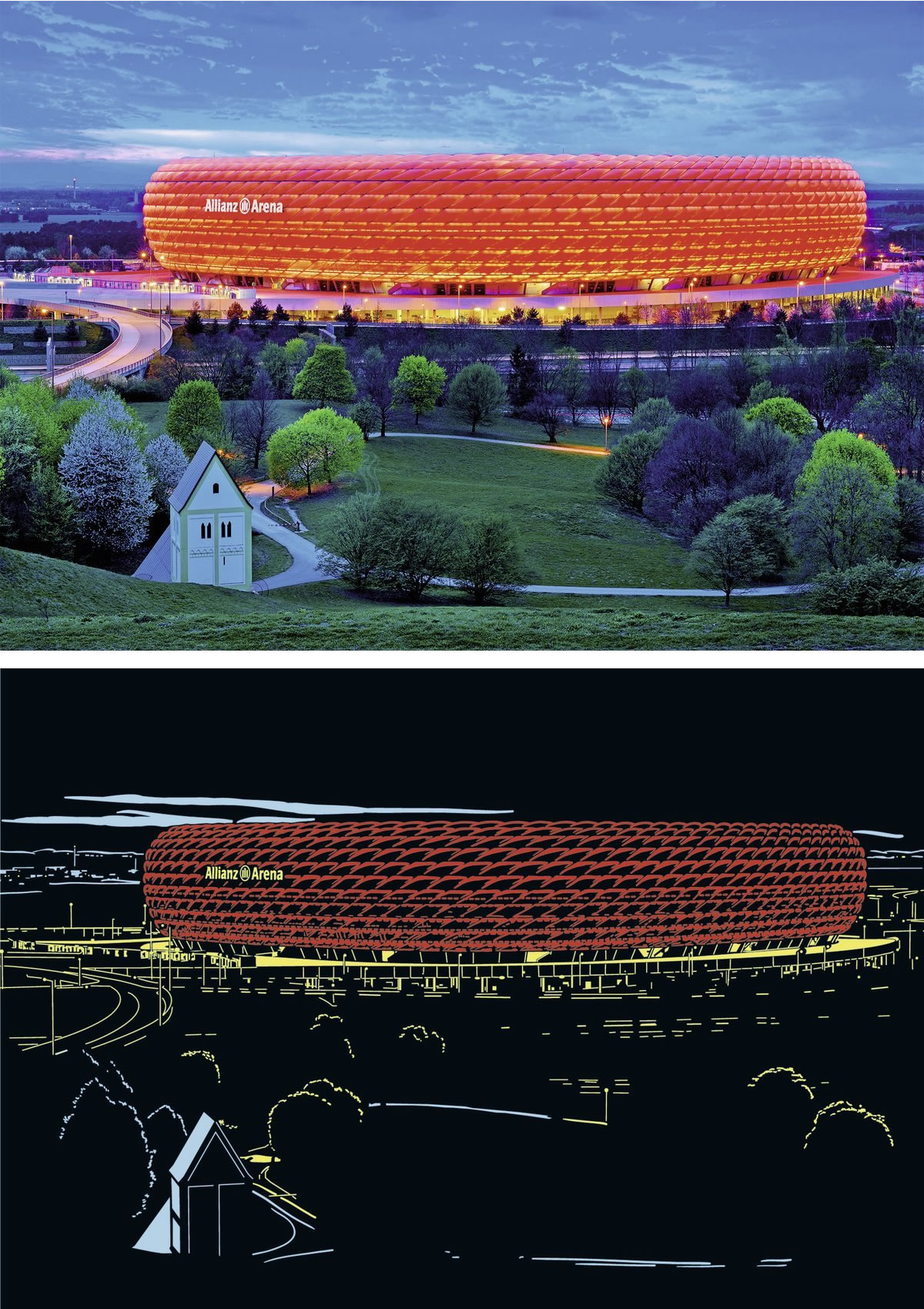 Puzzle Ravensburger Alianz Arena, Bayer Munich de 1200 Piezas