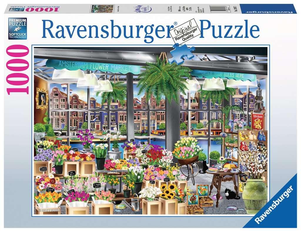Puzzle Ravensburger Amasterdam Flower Market de 1000 Piezas
