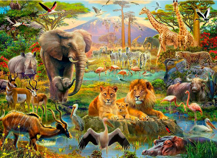 Puzzle Ravensburger Animales de la Sabana XXL de 200 Piezas