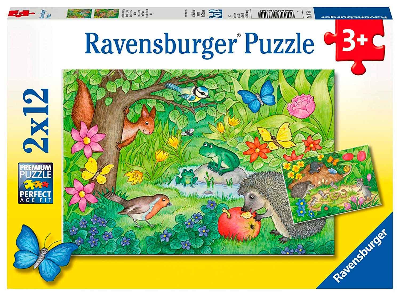 Puzzle Ravensburger Animales de Nuestro Jardín de 2x12 Piezas