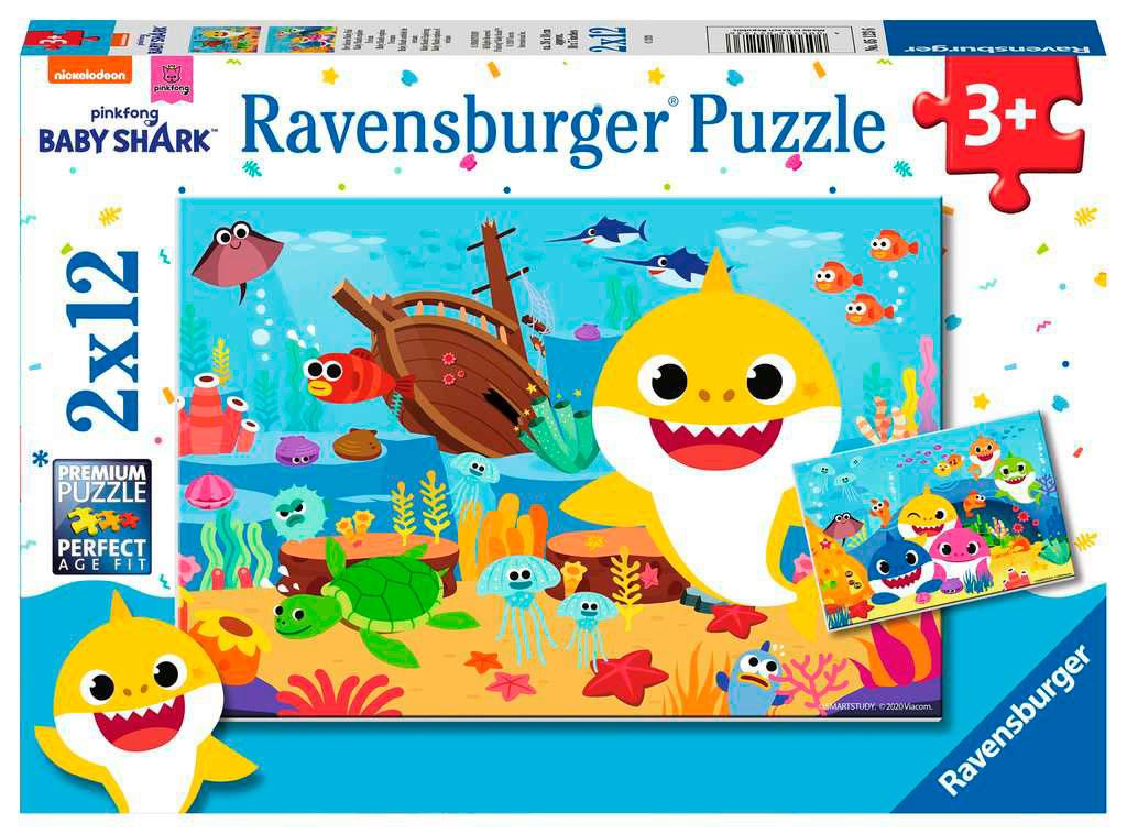 Puzzle Ravensburger Baby Shark Océano de 2x12 Piezas