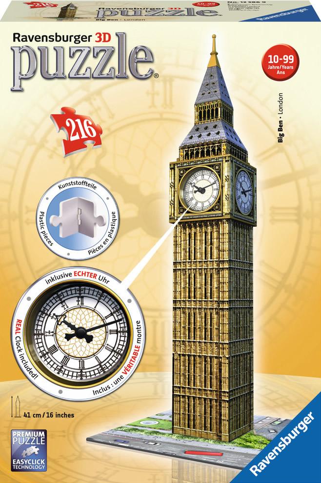 Puzzle Ravensburger Big Ben 3D con Reloj 216 Piezas