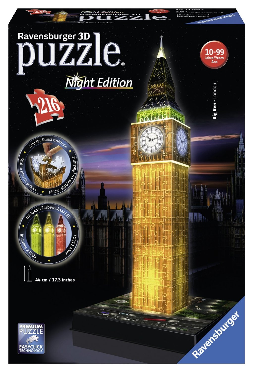 Puzzle Ravensburger Big Ben Night Edition 3D 3D 216 Piezas