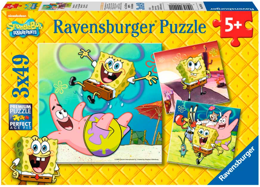 Puzzle Ravensburger Bob Esponja de 3 x 49 Piezas