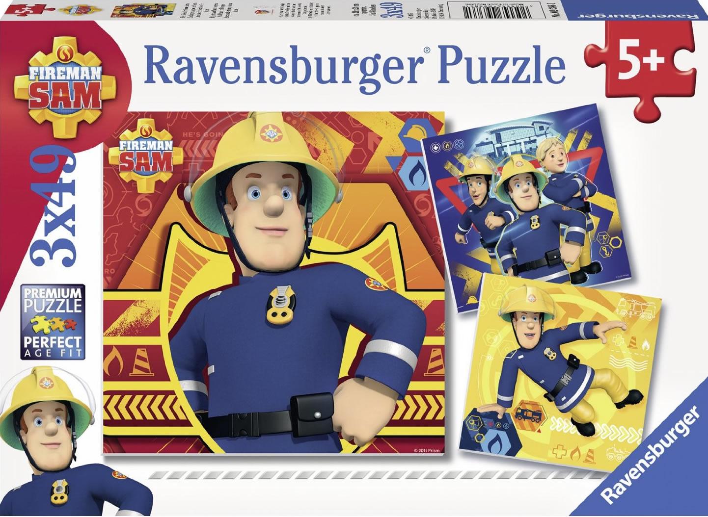 Puzzle Ravensburger Bombero Sam 3 x 49 Piezas