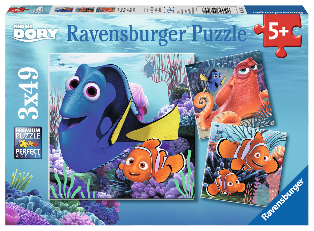 Puzzle Ravensburger Buscando a Dory 3 x 49 Piezas