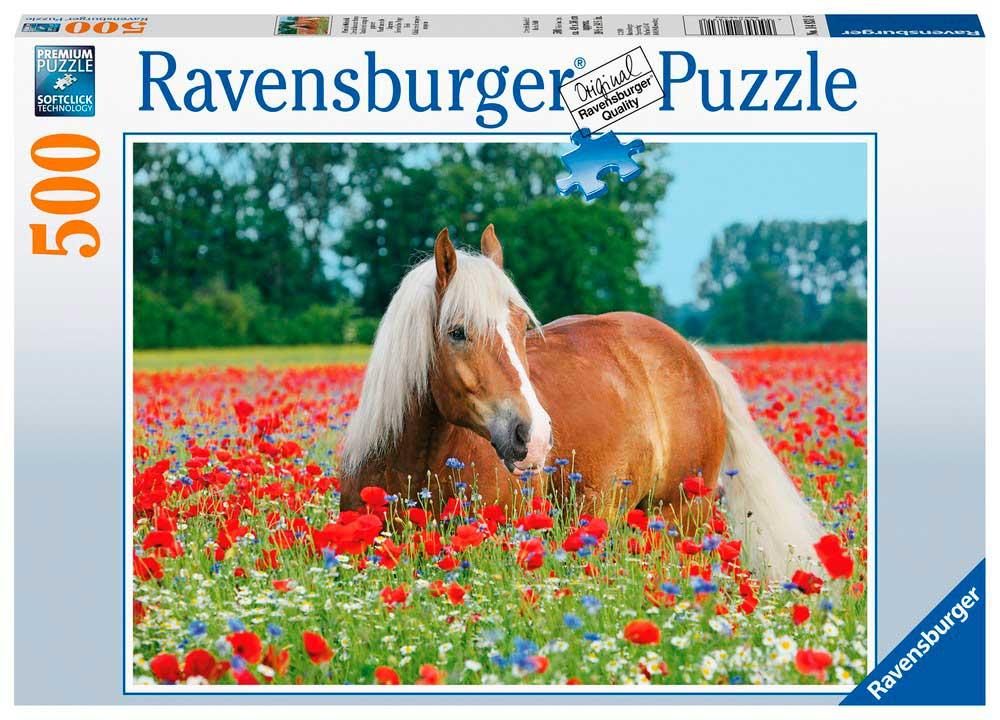 Puzzle Ravensburger Caballo en el Campo de Amapolas de 500 Pzs