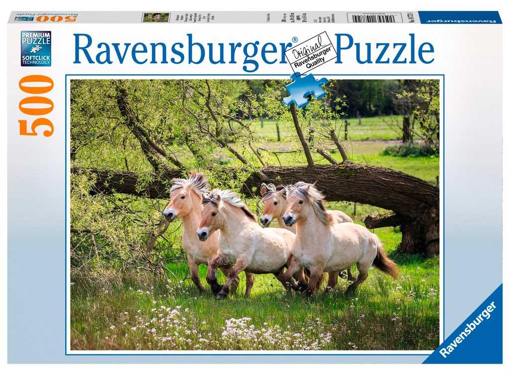 Puzzle Ravensburger Caballos Noruegos del Fiordo 500 Piezas